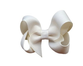 Ivory boutique bow - ivory hair bow, ivory bow, off white bow