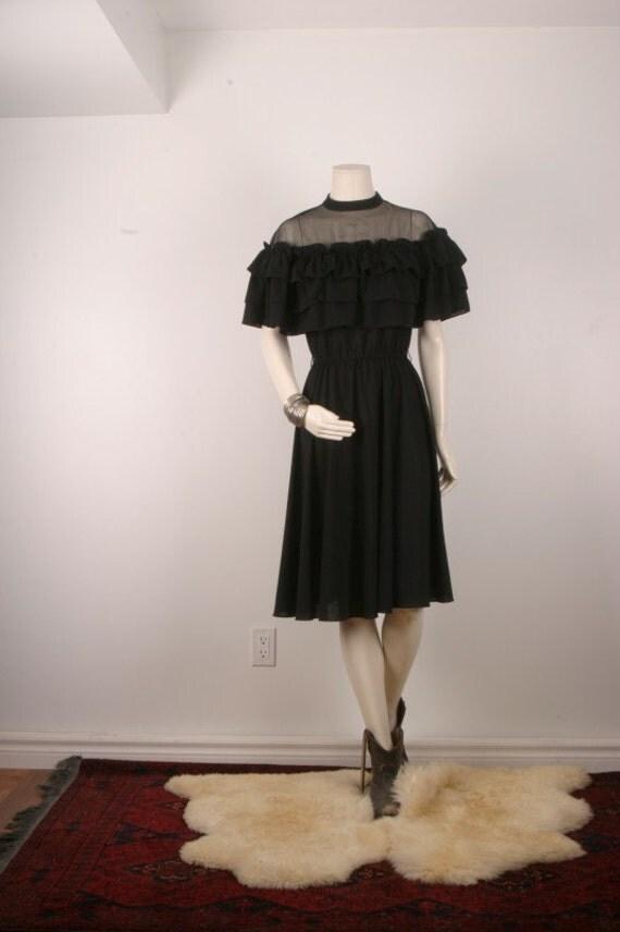 Women black dress vintage ruffle frill cocktail women size S medium
