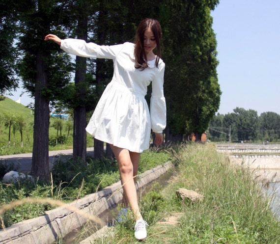 cotton wedding dress----lantern  sleeves princess dress lolita dress