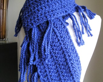Zooey Scarf - Lots of Fringe -- Cobalt Blue -- Great Color for Winter 2016