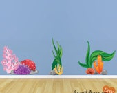 Ocean Wall Decals, Coral and Plant Fabric Wall Decals Set,Under the Sea Wall Stickers