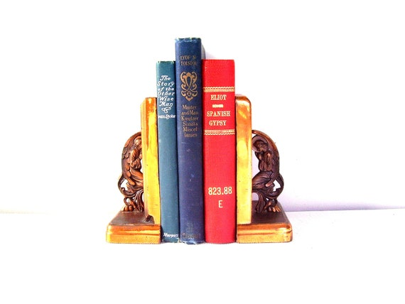 Antique gothic angel copper bookends art deco arts by bigbangzero - Gothic bookends ...