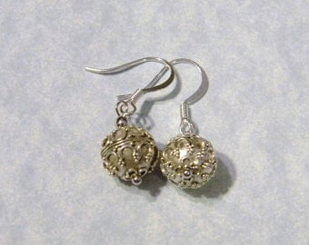 Bali Silver Bead Earrings