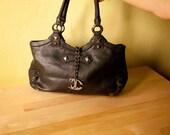 Vintage black bag. Made in Italy. Cavalli bag. shoulder bag. 80s.
