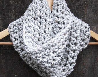 READY TO SHIP crochet neckwarmer cowl grey heather handmade accessories infinity eternity chunky winter neck warmer women unisex grey marble