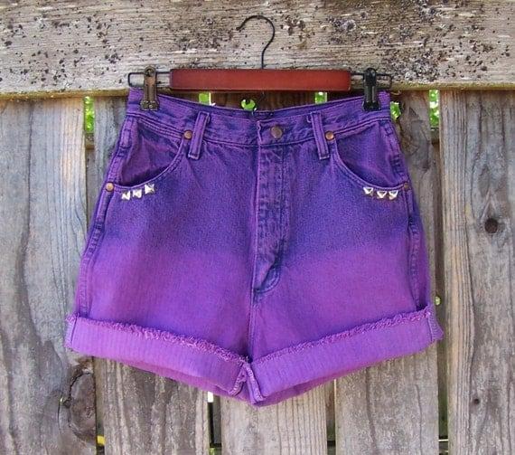 "Purple studded high waisted shorts cut offs dip dye ombre bleached overdyed vintage Wrangler 26"" waist"