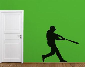 Baseball Player Silhouette Removable Vinyl Wall Art, sticker sports baseball fan boys room decal batting batter sporting wall vinyl