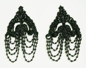 Rare antique dress ornaments, set of two, Black pate de verre beads and fabric, c.1900/1909, black vintage bridal ornament