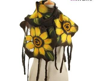 SALE!!!  brown nuno felted scarf, evening sunflowers - silk felt wool nunofelted eco scarf, felted wrap shawl, felted art wool scarf