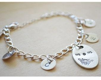 Personalized Mommy Bracelet - Initial Bracelet - Grandma Grandchildren Charm Bracelet - Sterling Silver - Customized