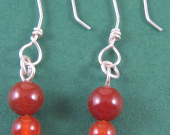 Sterling Silver Earrings wtih Carnelian Beads
