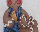 Fabric Iron On Gingerbread Man - 9 X 6 1/2 inches - Christmas