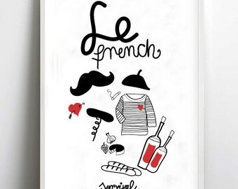 LE FRENCH - france - art print by nicemiceforyou