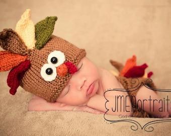 Newborn Turkey Hat Photo Prop,  MADE TO ORDER