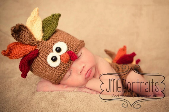 Baby Turkey Hat Photo Prop, Newborn, Knitted, MADE TO ORDER