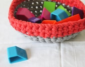 NESTING BOWL  -  crocheted grey and coral red basket
