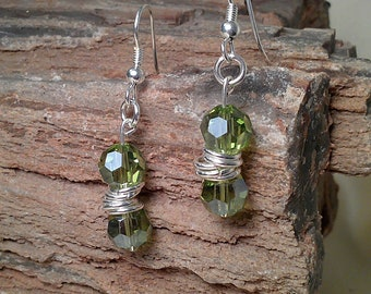 Stylish Faceted Swarovski Crystal Beaded Dangle Earrings with Silver Hardware