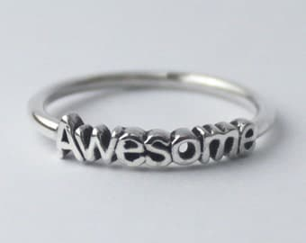 Awesome 925 Sterling silver stacking ring with fun / Inspiring word, Halloween costume
