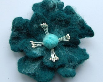Felt flower pin, wet felted wool jewelry, seagreen and turquoise, flower felt pin, corsage, big flower brooch, gifts for her, jewellery
