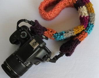 Camera Strap Slip Cover-Lens Cap Pocket-Crochet-Photographer's Accessory