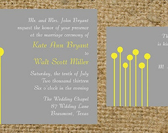 Craspedia Billy Buttons Billy Balls Gray and Yellow Wedding Invitation set - colors and fonts can be changed