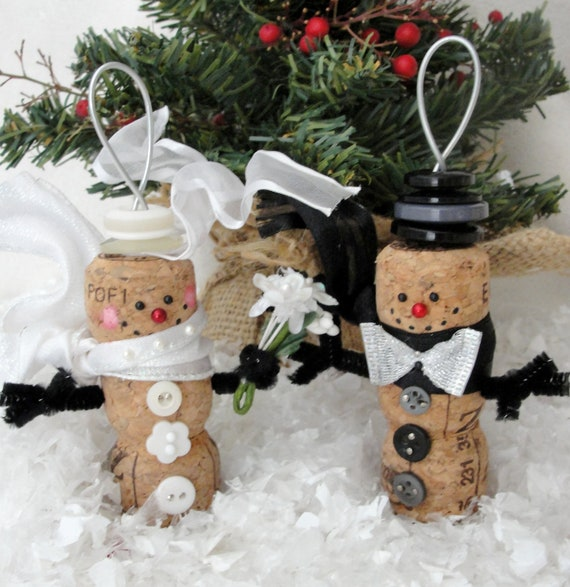 Cork Crafts For Weddings: Items Similar To Bride And Groom Snowmen Champagne Cork