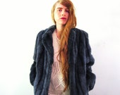 Blue Gray Faux Fur Coat