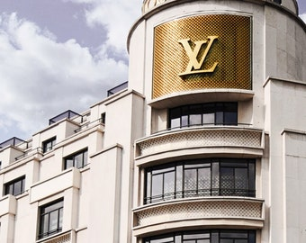 Louis Vuitton Art - 8x10 Paris Photo, Champs Elysees, French, Fashion Gift, Designer, Shopping, Gold, White, French Girl, LV, Couture