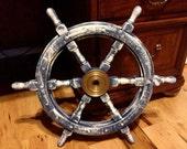 24 Inch Hand Painted Ships Wheel Nautical Maritime Pool Lake House Decor Awesome Nursery