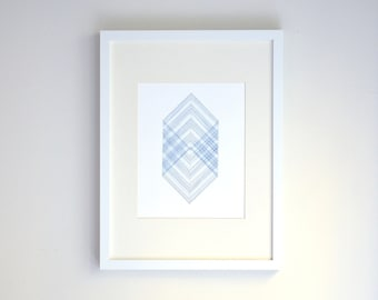 Geometric Wall Art - Ombre Blue Squares Pattern - Embroidered Art