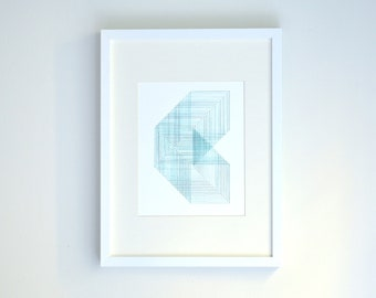Geometric Embroidery - Ombre Green Patterned Square Wall Art