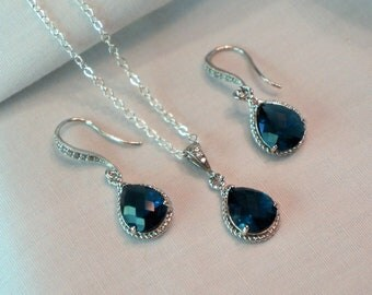 Blue Bridesmaid Jewelry Set, Blue Necklace and Earrings Set, Wedding Jewelry, Bridal Jewelry, Color Choice Gift Set