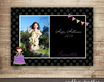 Girl's Halloween Photo Card, Princess Photo Card, Halloween Card with Picture, Children's Halloween Photo Card, Printable File or Printed