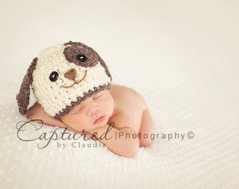 Baby Boy Hat PUPPY LUV Newborn Baby Boy Crochet Doggy Hat  0 3 6 months paws