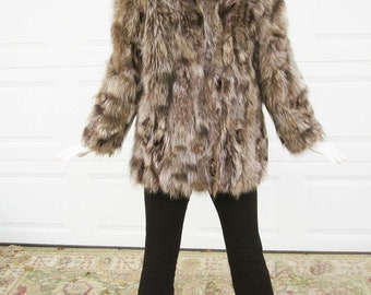 1950s 'Furrocious' Raccoon Jacket With Split Collar, Vertical Slit Pockets and Hook Fronts - Great Furry Texture