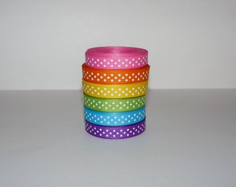 "3/8"" (10 mm) Rainbow Bright Polka Dot Grosgrain Ribbon Lot  (Choose 3 or 5 yards EACH of 6 different colors)"