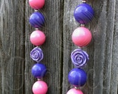 Chunky Lavender Purple Pink Flower Necklace Baby Girls Women
