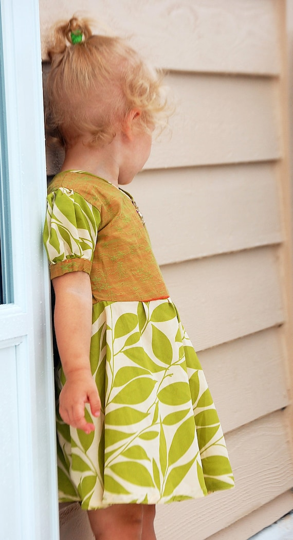Girls Flower Leaf Dress Silk Beaded Handmade Size 2T