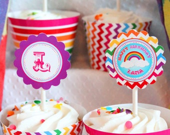 The Rainbow Party Collection - Cupcake wrappers - INSTANT DOWNLOAD