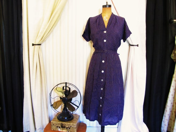 1940s vintage dress blue-striped- - size large / med-large/ mad men