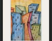 Original Watercolor Painting / Neon Cityscape / 8 1/2 x 11