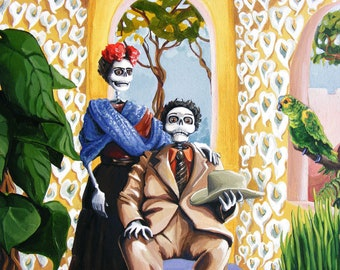 Frida kahlo diego rivera day of the dead portrait painting for Diego rivera day of the dead mural
