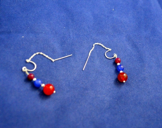 "Ruby, Sapphire Ear Thread Earrings, 3"" Sterling Silver Ear Threads, Natural Ruby and Sapphire gem Beads E212"