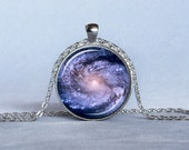 GALAXY PENDANT Blue and Pink M100 Galaxy Necklace Astronomy Necklace Astronomy Geek Star Trek Sci Fi Jewelry Science Necklace 25mm - ThePendantGarden
