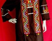 NANA.026 Chocolate BROWN KURTA Floral Embroidered Cotton Midi Dress/Embroidery Chocolate Brown Summer Midi Dress/Ethnic Cotton Classic dress