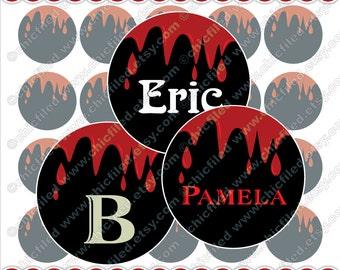 "Editable JPG Bottle cap images True Blood Drops Black Red circles Halloween Printable Bottle cap images 4x6"" Digital Collage Sheet c00003-10"