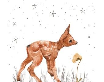new day, Giclee print, children's art, nursery decor, little fawn