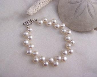 Pearl bracelet, Freshwater button pearl bracelet, Sterling Silver bracelet, June Birthstone bracelet, Silver Bracelet, Sterling Bracelet,