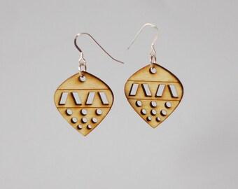 Laser cut wooden earrings - wooden ornament earrings