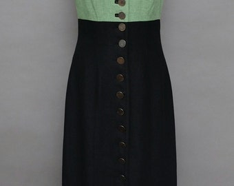 Vintage Green and Black Maxi Dress